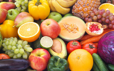 Mixed fresh colorful fruits and vegetables