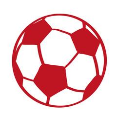 Handgezeichneter Fußball in rot
