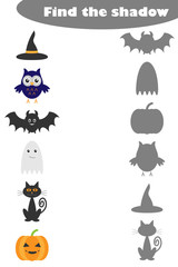 Find the shadow game with halloween pictures for children, education matching game for kids, preschool worksheet activity, task for the development of logical thinking, vector illustration