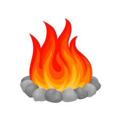 Burning bonfire with stones vector Illustration on a white background