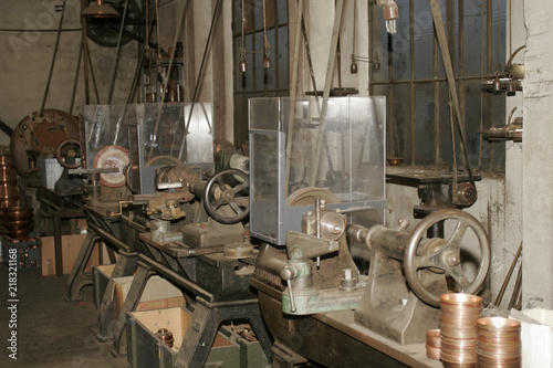 Old tools and machinery in old copper objects factory