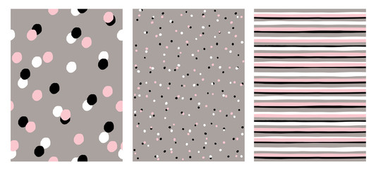 Set of Hand Drawn Abstract Seamless Vector Patterns. 3 Simple Designs. White, Black, Pink and White Dots on a Grey Background. White, Black, Pink and Grey Stripes on a White Background.