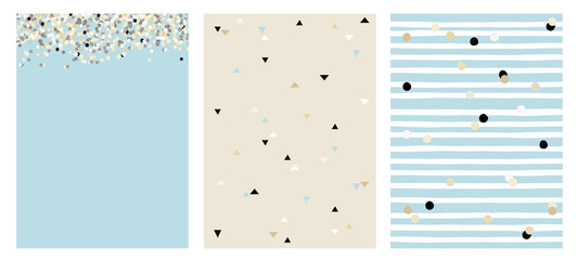 Set of 3 Varius Abstract Vector Layouts. Beige, White and Black Falling Confetti. Blue Background. Triangles Pattern. Beige Background. White Stripes with Beige and Black Dots Pattern.Blue Background