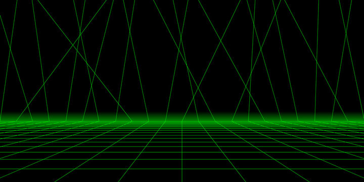 Interior backdrop with perspective grid. Wireframe grid empty studio room. Vector futuristic background. Digital Retro Cyber Surface. Suitable for design in the style of the 1980`s.