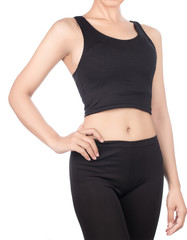 female fitness model posing isolated on white background