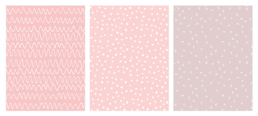 Abstract Hand Drawn Childish Vector Pattern Set. White Waves, Arches and Dots on a Various Pink Backgrounds.