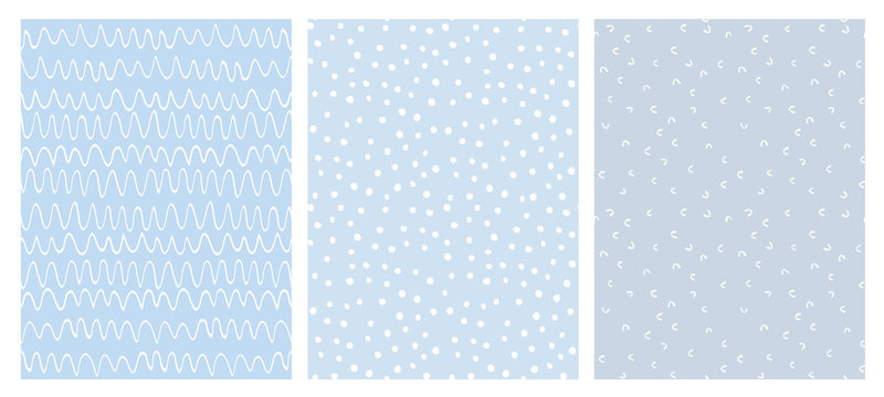 Abstract Hand Drawn Childish Vector Pattern Set. White Waves, Arches and Dots on a Various Blue Backgrounds.