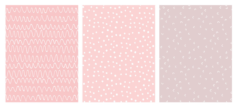Abstract Hand Drawn Childish Vector Pattern Set. White Waves, Arches and Dots on Various Pink Backgrounds. Modern Geometric Seamless Pattern. Irregular Freehand Print.