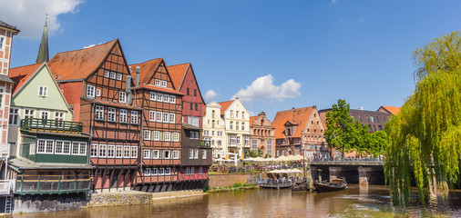 Panorama of the historic harbor of Luneburg, Germany