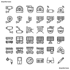 CCTV Outline Icons perfect pixel.