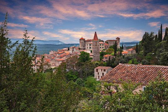 Callian, Var, Provence, France: landscape at dawn of the ancient village