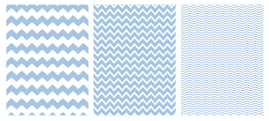 Chevron Vector Pattern Set. 3 Various Size of Chevron. White Background. Blue Simple Geometric Seamless Design.