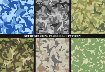Set of Multicam Camouflage seamless patterns. Military background and texture. Camo clothes. Vector Illustration.