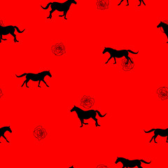 Seamless pattern black Horse silhouette, small red rose on red, vectow eps 10