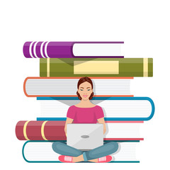 Girl sitting in front of pile of books with laptop