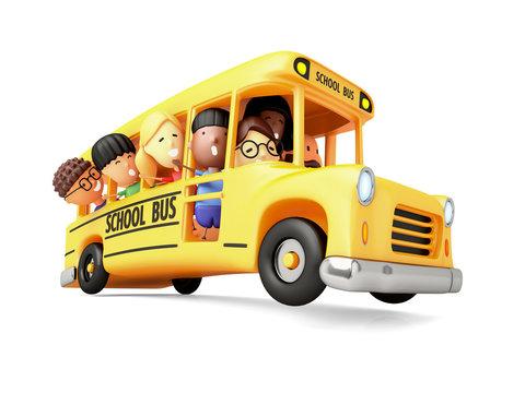 Happy elementary school kids on a cartoon yellow bus. 3D illustration.