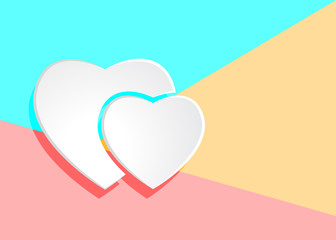 Flat modern art design graphic image of white paper hearts icon