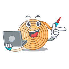 With laptop water hose character cartoon