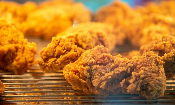Fried chicken wings. Breaded Crispy fried kentucky chicken tasty dinner.,Fat food,Fastfood concept background.