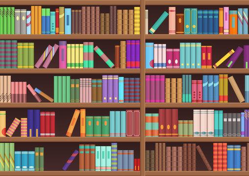 Library book shelf literature books cartoon vector background.