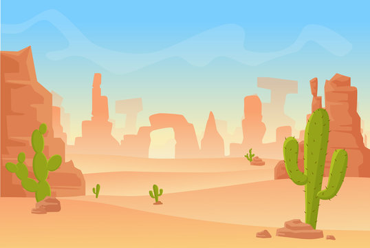 Vector cartoon illustration of Western Texas or Mexican desert silhouette. Wild west America western scene with mountains and cactus in dry desert.