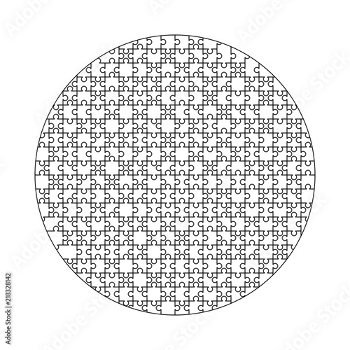 white puzzles pieces arranged in a circle shape jigsaw puzzle