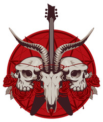 Vector illustration with skulls of a horned animal and human, electric guitar and red roses on the background of the Satan star. Creative illustration for t-shirt design in modern style
