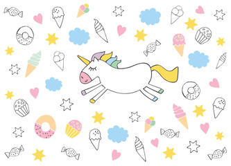 Cute Hand Drawn Unicorn Vector Illustration. Infantile Style Design. White Background with Sweets, Ice Creams, Donuts, Muffins and Candies. Pink Hearts and Yellow Stars. Bright Soft Graphic.
