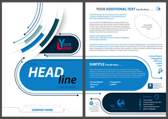 Abstract Flyer Template in Tech Style with Blue Stripes and Lines on White Background - Colored Illustration, Vector