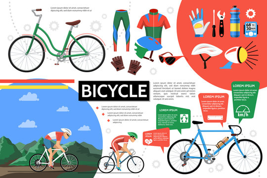 Flat Bicycle Infographic Template