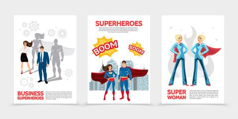 Flat Superhero Characters Posters