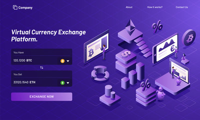 Isometric design of virtual currency exchange platform with 3d illustration of working people execute the process for responsive landing page design.