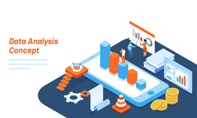 Data Analysis responsive web template design with isometric bar graph on smartphone screen, tiny business people analysis the data.