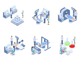 Set of medical science elements in isometric style.