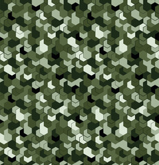Seamless camouflage in Green pattern with grid. Polygonal mosaic series for your design. Vector