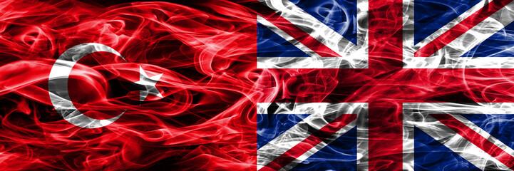 Turkey vs United Kingdom smoke flags placed side by side. Turkish and United Kingdom flag together