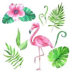 Watercolor set with tropical leaves and flamingo
