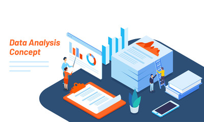 Isometric illustration of tiny business people maintain or analysis the data for Data Analysis concept based responsive web template design.