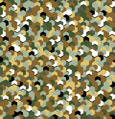 Seamless camouflage in Green and Brown khaki pattern with breakage. Polygonal mosaic series for your design. Vector