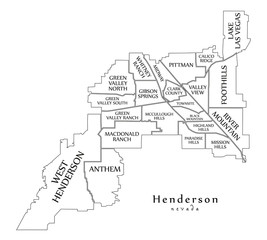 Modern City Map - Henderson Nevada city of the USA with neighborhoods and titles outline map