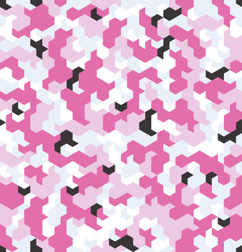 Seamless camouflage in Pink pattern. Polygonal mosaic series for your design. Vector