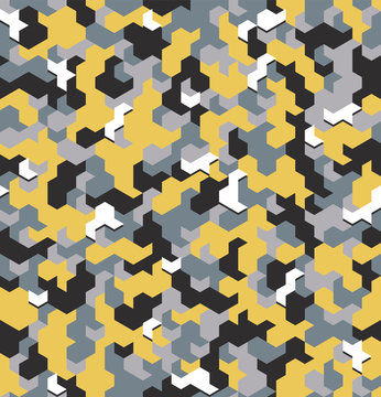 Seamless camouflage in Yellow pattern with displaced element. Polygonal mosaic series for your design. Vector