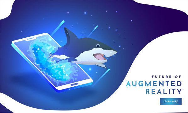 Future of Augmented Reality (AR), isometric illustration of Shark on smartphone screen on shiny blue background. Responsive landing page design.