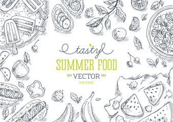 Summer Food Frame. Linear graphic.