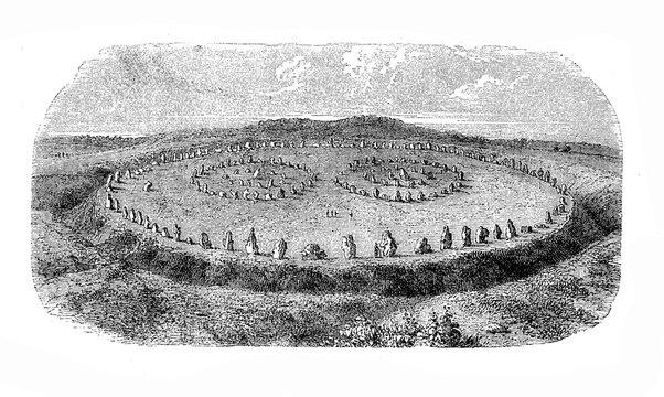 Vintage engraving of Avebury stone circle, large prehistoric henge monument in Avebury, Wiltshire in southwest Englang, countaining three stone circles