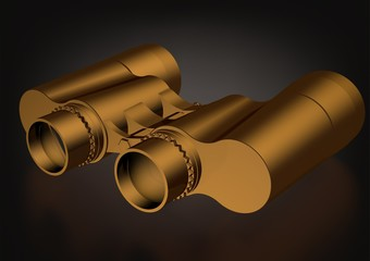 Gold binoculars on a black