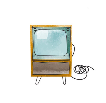 vector tv illustration. interior design mid century modern watercolor paint. vintage retro. history of television textured hand drawn.