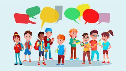 Group Of Pupils Vector. School. Mix Race. Chat Bubbles. Communication Social Network. Social Group. Flat Cartoon Illustration