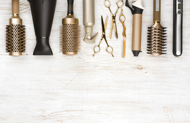 Professional hair dresser tools on wooden background with copy space Wall mural