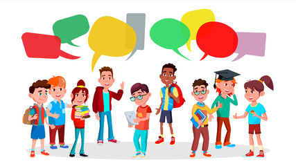 Group Of Pupils Vector. School. Social Network. Mix Race. Chat Bubbles. Discussing. Brainstorming. Talking Communication. Flat Cartoon Illustration